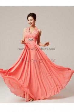 Watermelon Floor-Length Backless Halter Empire prom dress np-0133