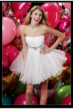 White Chest With Crystal Beads cheap Homecoming Dress nm-0272