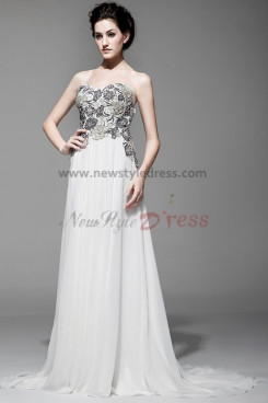White Chest With Embroidery Wedding Party Dresses Court Train nw-0103
