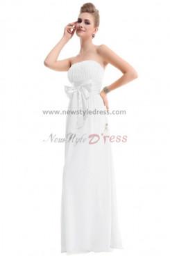 White Chiffon Bow long Bridesmaids Dresses Under 100 np-0193