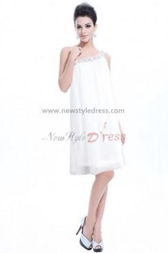 White Chiffon Under 100 One Shoulder Cocktail Dresses np-0183