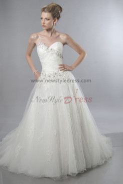 a-line Sweetheart Chest Appliques Multilayer tulle Princess wedding dress nw-0203