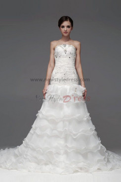a-line Tiered Chapel Train Chest With beading Pleat Wedding Dresses nw-0220
