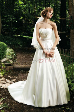a line Strapless Simple Cheap Spring wedding dress nw-0262