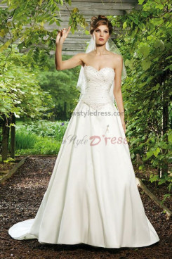a line Sweetheart Beaded Brush Train Chest With beading wedding dress nw-0239