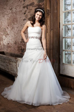 a line Waist With Glass Drill Multilayer Elegant Latest Fashion weddong gowns nw-0235