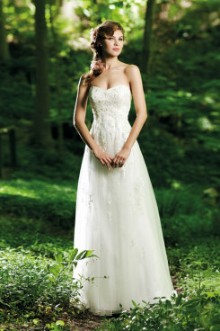 a line Strapless tulle Chest Appliques Glamorous Spring wedding dress nw-0267
