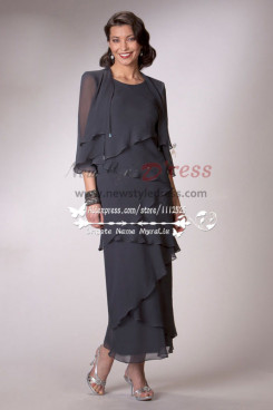 Ankle-Length Charcoal chiffon mother's dress with jacket cms-086