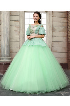 Apple green With Short Sleeves Unique Quinceanera Dresses beautiful Ball Gown nq-012