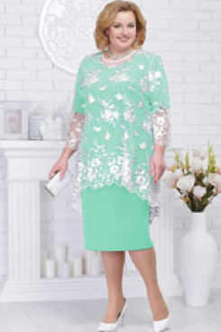 Aqua Chiffon Mother of the bride dress with white lace Overlay nmo-577