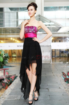 Sequins back Chiffon Strapless Front Short Long prom Dresses np-0185