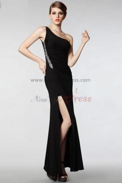 balck Oblique band Sheath Side slits Elegant prom dresses np-0302