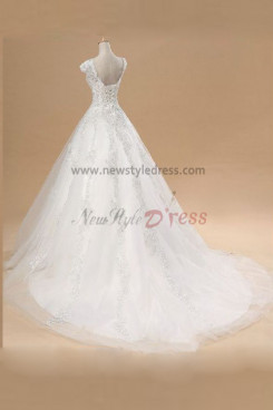 Lace Up ball gowns Elegant Royal Train Lace Organza Hand-beading Wedding Dresses nw-0090