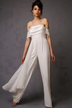 Beach Bridal Jumpsuits Chiffon wedding pants dresses wps-110