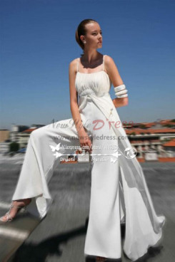 a0ce4bf93b7 Beach wedding dresses Spaghetti jumpsuit for bride sposa pantalone wps-058