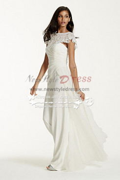 Beautiful Chiffon bridal jumpsuit with exquisite hand beaded cape wps-038