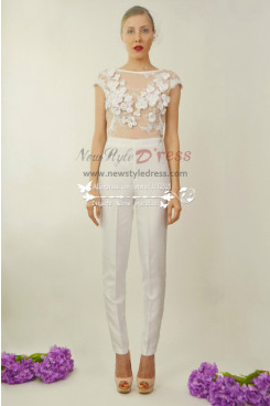 Beautiful flower wedding jumpsuit with detachable train wps-066