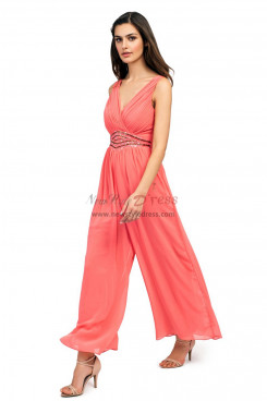 Charming watermelon red prom jumpsuit dresses Chiffon wide legs pants wps-170