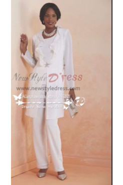 Beautiful Wihte three piece dress suit for wedding mother of the bride chiffon pant suits