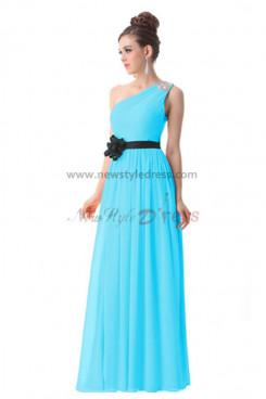 black Belt Chiffon Ankle-Length One Shoulder evening Dresses np-0188