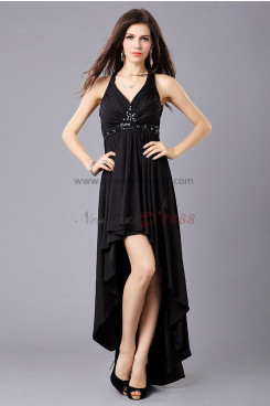 black Ruffles Glass Drill Front Short Long Back prom dress np-0341