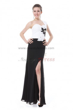 black and white slit Embroidery evening Dresses np-0196