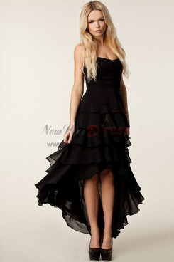 Black Asymmetry High-low Tiered Prom Dresses nmo-357