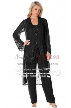 Black Hand beading Mother of the bride pant suit nmo-154