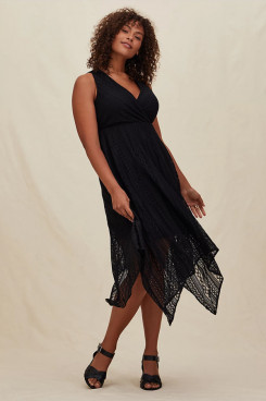 Black Lace Mother Of The Bride Dresses, Plus Size Mid-Calf Women's Dresses nmo-705
