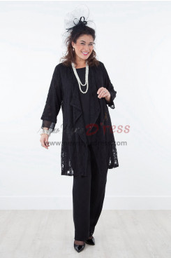 Black lace Mother of the bride outfit Stretchy Waist pants nmo-389