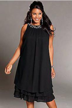 Black Loose Hot Sale lovely Glamorous short Women's Dress cms-107