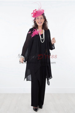 Black loose Mother of the Bride Pants Suits Chiffon nmo-299