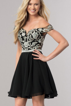 Black Off-the-Shoulder Homecoming Dress,Sweetheart Mini Above Knee Dress sd-019-1
