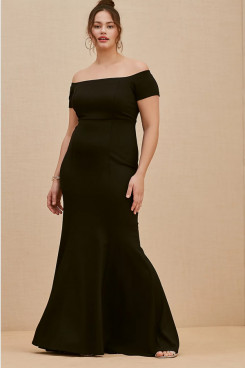 Black Off the Shoulder Women's Dresses, Fashion Plus Size Mother Of The Bride Dresses nmo-710