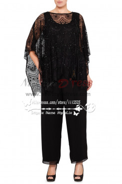 Black outfit mother of the bride pants suits lace with hand beading