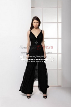 Black Prom Jumpsuit With Wide Legs for special occasion nmo-227
