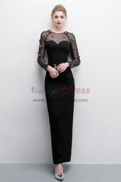 Black Sheath Prom dresses With Crystal Fashion Mesh  Fabric