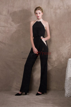 Black Stretch chiffon Halter Womens Prom Jumpsuits New style NP-0399