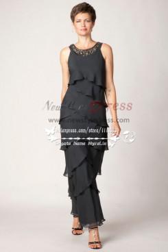 Black Tiered mother's dress of cascade type gauze cms-085