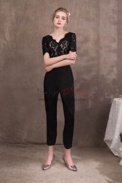 Black  V Neck Prom dresses Jumpsuits with Lac NP-0414