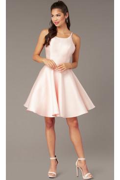 Blushing Pink Satin Homecoming Dress,A-line Short Party Dress sd-025-2
