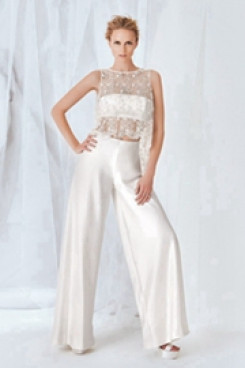 Spring Bridal jumpsuit satin wedding dress Sposa wps-102