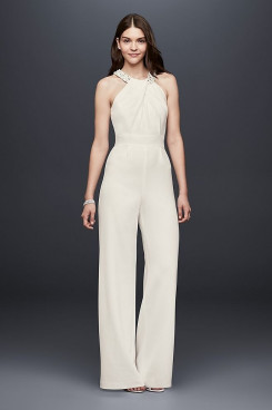 Bridal Jumpsuits Simple white Halter bride dresses wps-121