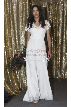 bridal wedding dresses fashion Glamorous lace jumpsuit for Bride wps-049