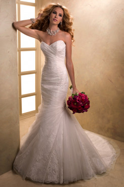 Brush Train Draped Classic Elegant Mermaid lace Good comment wedding dresses nw-0197
