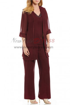 Burgundy Chiffon Beaded v-Neck Three pieces Mother of the Bride Pantsuits nmo-395