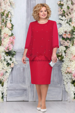 Red Chiffon Mother of the Bride Dress Plus Size Knee-Length Women Dresses nmo-762-1