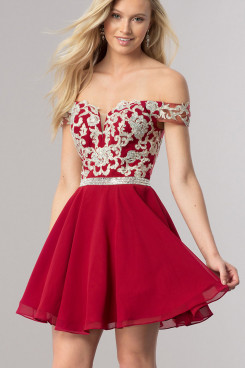 Burgundy Off-the-Shoulder Homecoming Dress,Sweetheart Mini Above Knee Dress sd-019-2
