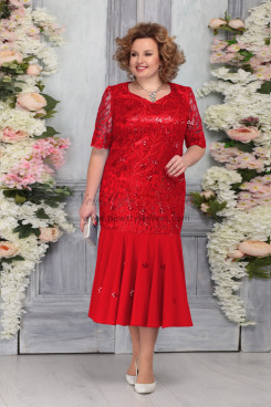 Red Plus Size Short Sleeves Women's Dresses Mermaid Mother of the Bride Dresses nmo-759-1