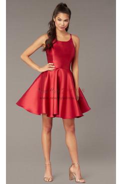 Burgundy Satin A-line Homecoming Dress, Under $100 Short Party Dress sd-025-3